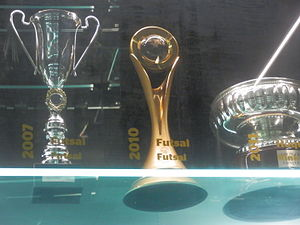 S.L. Benfica (futsal) - 2009–10 UEFA Futsal Cup trophy (centre) at the Museu Benfica