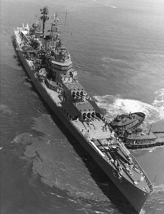 USS Canberra (CAG-2) in Hampton Roads on 12 June 1957 (NH 98389)