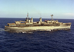 USS Dixie (AD-14) underway off the coast of southern California on 1 April 1976 (6392044).jpg