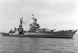 Portland-class cruiser - Image: USS Indianapolis (CA 35) off the Mare Island Naval Shipyard on 10 July 1945 (19 N 86911)