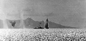 USS Mugford (DD-389) - Mugford under air attack at Guadalcanal on 7 August 1942.