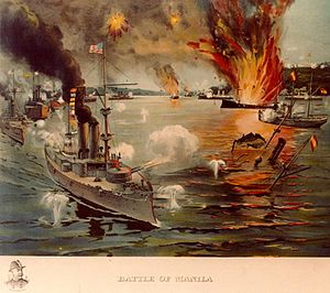 Battle of Manila Bay - Image: USS Olympia art NH 91881 KN