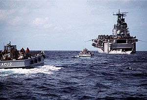 Operation Sharp Edge - USS Saipan and landing craft during Operation Sharp Edge
