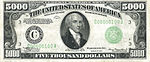 The 1934 $5000 bill, featuring the portrait of James Madison.