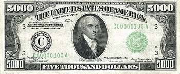 Series 1934 $5,000 Federal Reserve Note, Obverse