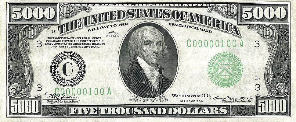 US $5000 1934 Federal Reserve Note