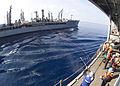 US Navy 030403-N-6404B-005 A shot-line is fired from the amphibious command ship USS Blue Ridge (LCC 19).jpg