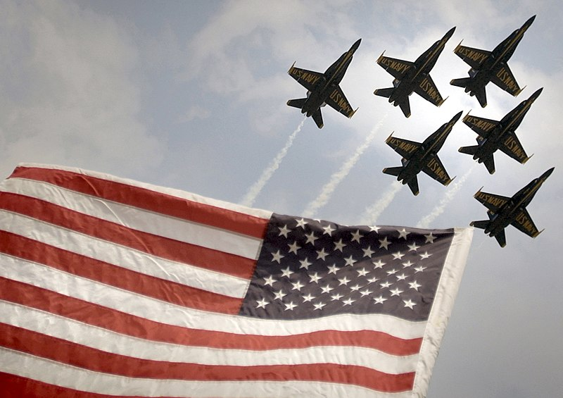 File:US Navy 030626-N-1539M-002 The U.S. Navy's Flight Demonstration Team, Blue Angels soars over Old Glory as they perform the Delta Formation during an air show in North Kingstown, R.I.jpg