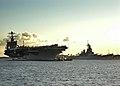 US Navy 040722-N-4995T-036 The Nimitz-class aircraft carrier USS John C. Stennis (CVN 74) passes the USS Missouri memorial as it arrives in Pearl Harbor, Hawaii.jpg