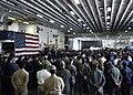 US Navy 050915-N-7202W-003 U.S. Coast Guard Vice Adm. Thad W. Allen, principle federal official (PFO) for federal response to Hurricane Katrina, addresses the crew of the amphibious assault ship USS Iwo Jima (LHD 7).jpg
