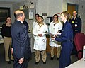 US Navy 060104-N-2568S-003 Secretary of the Navy, the Honorable Dr. Donald Winter meets with staff members at the National Naval Medical Center, during a visit with wounded Sailors and Marines.jpg