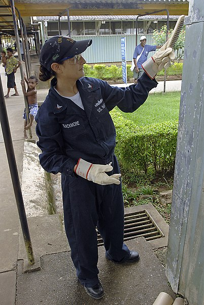 File:US Navy 070808-N-4954I-032 perations Specialist 3rd Class Julie Blackmore removes old paint with a steel brush at Modilon General Hospital in support of a community relations project.jpg