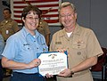 US Navy 071116-N-5677B-002 Yeoman 1st Class Tracey Brandon receives the Navy Achievement Medal during an award ceremony Tuesday in recognition of her selection as U.S. Naval Forces Southern Command's (NAVSO) Sailor of the Year.jpg