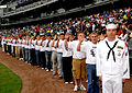US Navy 080604-N-8848T-701 Recruit Division Commander Aviation Ordnanceman 1st Class Steven Lukasiewicz, of Chicago, stands in front of future recruits he will be in charge of at Recruit Training Command Naval Station Great Lak.jpg