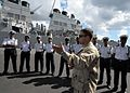US Navy 090731-N-6138K-444 Ensign Tyson Meadors, the force protection officer assigned to the guided-missile destroyer USS Arleigh Burke (DDG 51), instructs Sailors from Mauritius National Coast Guard on visit, board, search, a.jpg