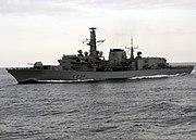 US Navy 100421-N-3542S-109 The British Royal Navy frigate HMS Iron Duke (F234) maneuvers near USS Laboon (DDG 58)
