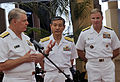 US Navy 100609-N-8273J-208 Chief of Naval Operations (CNO) Adm. Gary Roughead answer questions from media at Joint Base Pearl Harbor-Hickam.jpg