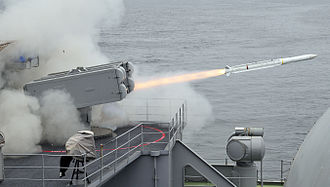 RIM-162 ESSM - An Evolved Sea Sparrow missile is launched from a Mk 29 launcher aboard USS Carl Vinson (CVN 70)