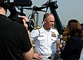 US Navy 110527-N-5698C-214 Rear Adm. Nevin Carr, Chief of Naval Research, speaks with Fox News reporter Kathleen T. McFarland on the flight deck of.jpg