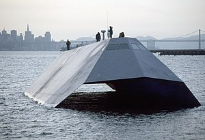 Stealth ship - US Navy Sea Shadow (IX-529) uses both a tumblehome hull and SWATH to reduce its radar return