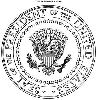 Seal of the President of the United States - Illustration from the 1945 executive order, with 48 stars