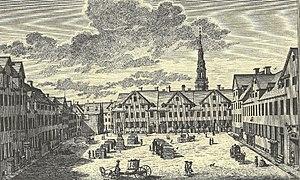 Gråbrødretorv - The square in 1755 by J. J. Bruun