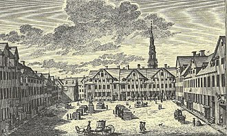 Gråbrødretorv - The square in 1755 by J. J. Bruun
