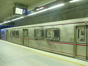 Los Angeles Metro Rail - Metro Red Line train entering Union Station.