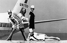 Stewardesses from 1968 working for United Airlines.