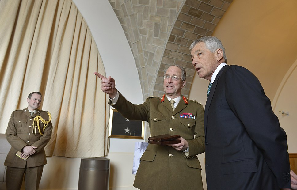 United Kingdom's Chief of the Defence Staff Gen. Sir David Richards, center,introduces members of his senior staff to Secretary of Defense Chuck Hagel,right, at the Combined Chiefs of Staff Committee 130327-D-NI589-279