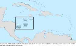 Map of the change to the United States in the Caribbean Sea on November 22, 1869