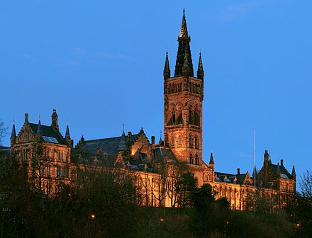 The University of Glasgow is the fourth oldest university in the English-speaking world and among the world's top 100 universities. University of Glasgow Gilbert Scott Building - Feb 2008-2.jpg
