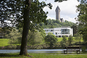 University of Stirling - Airthrey Loch, the University's Cottrell Building and the Wallace Monument.