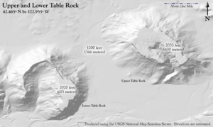 Upper and Lower Table Rock - Terrain of the Table Rocks. Upper Table Rock is on the right, Lower Table Rock is on the left.