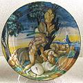 Urbino, bottega dei fontana, ercole e i centauri, xvi sec.JPG