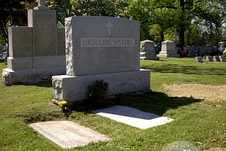 Ursulines - The tombstone of the Ursuline Sisters in Holy Sepulchre Cemetery (New Rochelle, New York)
