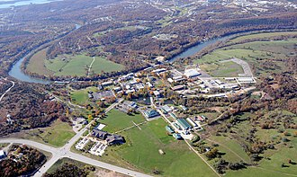 College of the Ozarks - Aerial photo of College of the Ozarks with Lake Taneycomo, Branson, and Table Rock Lake beyond