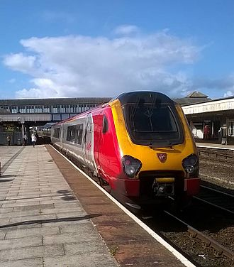 Virgin Trains - A Class 221 Super Voyager at Rhyl, bound for Holyhead