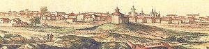Valdemoro - Valdemoro in the 17th century. Visible are the Ermita del Cristo de la Salud and the Church of Nuestra Señora de la Asunción.
