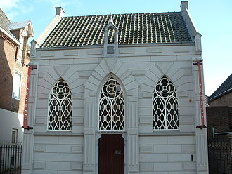 History of the Jews in the Netherlands - The synagogue in the town of Veghel. The community in Veghel was a small mediene community, which reached its height around 1900. In the years following the community shrank to some 30 members, and was eventually completely destroyed during the Holocaust.