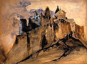 Battle of Vianden - Ruins of Vianden Castle by Victor Hugo, before their post-war restoration.