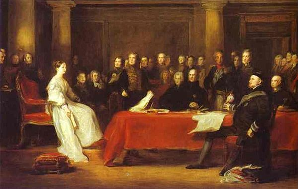 Queen Victoria convened her first Privy Council on the day of her accession in 1837. Victoria Privy Council (Wilke).jpg