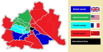 The four sectors of occupation in Vienna. Vienna Allied sectors (1945-1955).png