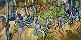 A stylised painting of gnarled tree roots, leaves and foliage, against brown soil.