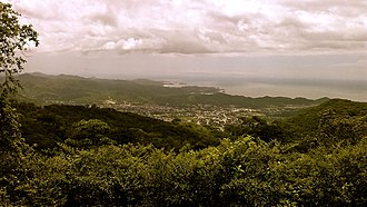 Carúpano - Panoramic view of the city with the Margarita Island in the Background