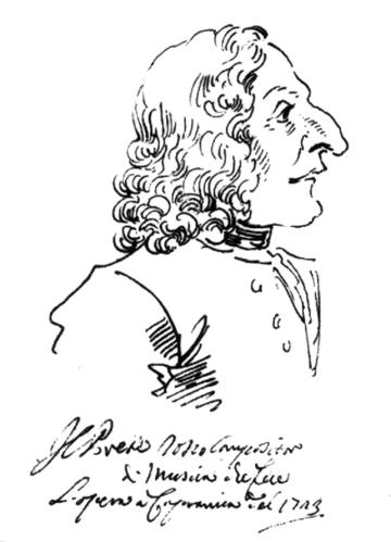 Карикатура на Вивальди— «Рыжий священник», нарисованная в 1723 году итальянским художником Пьер Леоне Гецци.