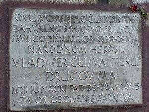 "Vladimir ""Valter"" Perić plaque in Sarajevo"
