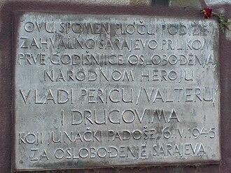 "Sarajevo - Vladimir ""Valter"" Perić plaque"
