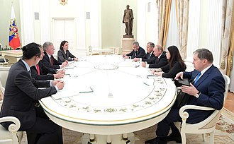 2018 Russia–United States summit - President Vladimir Putin and NSC Advisor John R. Bolton meeting at the Kremlin, Moscow, on June 27, 2018, to discuss the summit