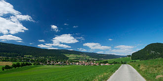 Longitudinal valley - The Val de Travers which, despite its name, is a longitudinal valley